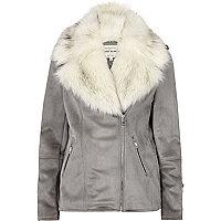 Grey faux suede aviator jacket