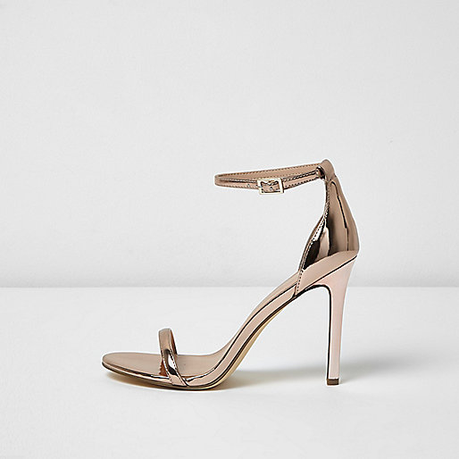 Rose Gold Metallic Barely There Heels Sandals Shoes