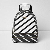 Black stripe print backpack