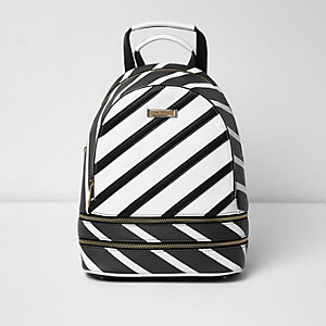 Black stripe print backpack