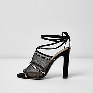 Black rhinestone embellished tie up sandals