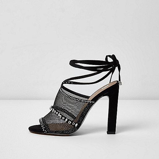 Black rhinestone embellished tie up sandals