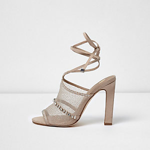 Light pink mesh embellished tie up sandals