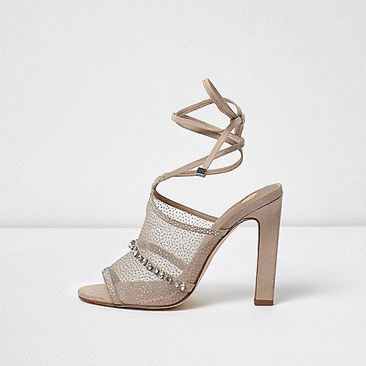 Light pink mesh embellished tie up sandals