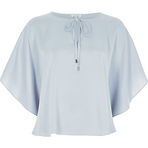 Light blue poncho top