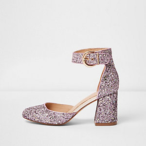 Purple glitter block heel shoes