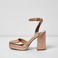 Gold metallic platform block heel sandals