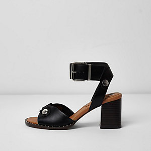 Black double strap block heel sandals
