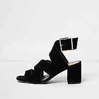 Black crossover wide fit block heel sandals