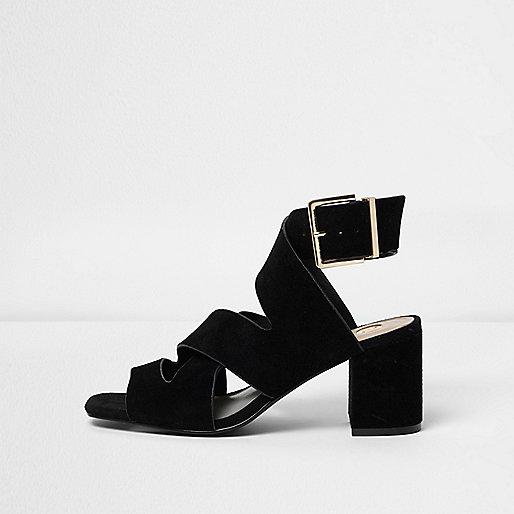 Black crossover block heel sandals