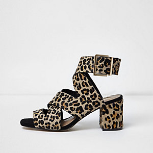 Leopard wide fit crossover block heel sandals