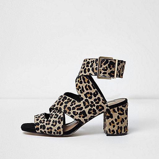 Leopard wide fit crossover block heel sandals