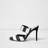 Black stripe strap court shoes