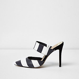 Black stripe strap pumps