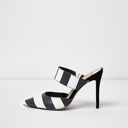 Black stripe strap court shoes