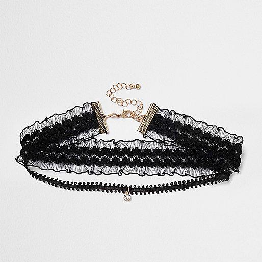 Collier ras-de-cou noir en dentelle avec pendentif