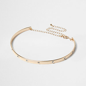 Gold diamante metal choker