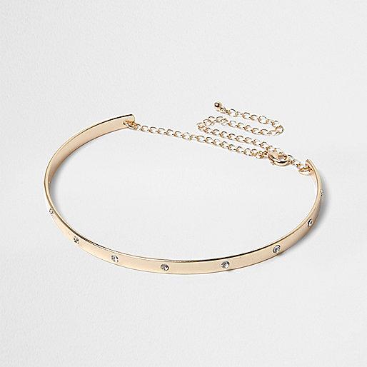 Gold diamante metal choker