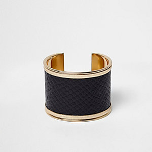 Gold tone snake embossed faux leather cuff