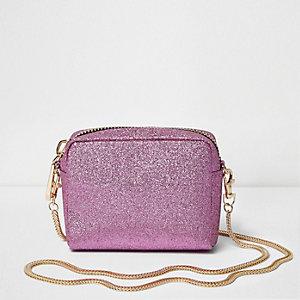 Pink glitter mini cross body bag