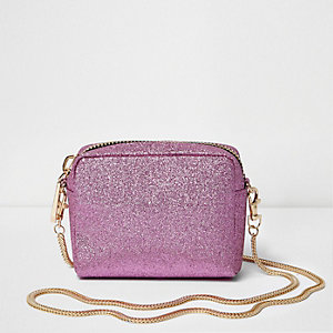 Pink glitter mini cross body bag