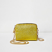 Gold glitter mini cross body bag