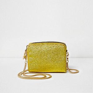 Mini sac à bandoulière doré pailleté