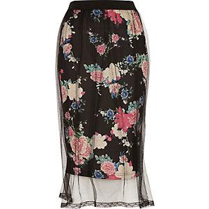 Black floral mesh midi skirt