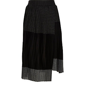 Black metallic block pleated skirt