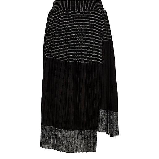 Black metallic block pleated skirt