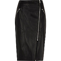 Black faux leather biker pencil skirt