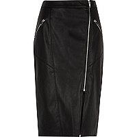 Black faux leather biker pencil skirt