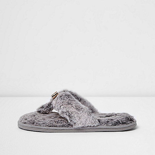 Grey fluffy bow flip flop slippers