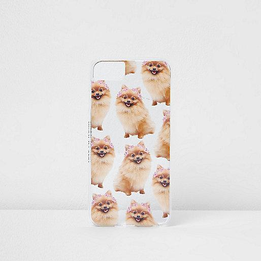 Beige hoes met Pomeranian hond voor iPhone 6/7