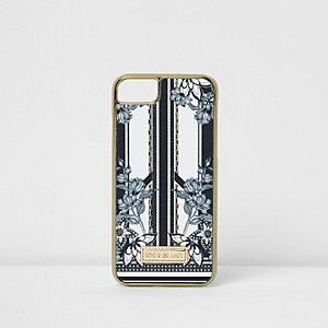 Coque à fleurs rayée noire pour iPhone 6/7