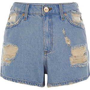 Blue ripped denim shorts