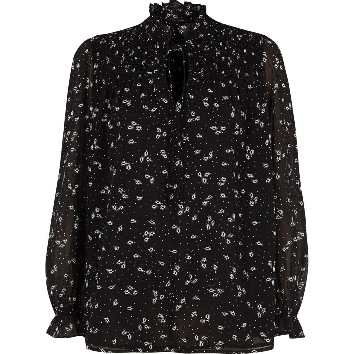 Black paisley print frill cuff shirred top