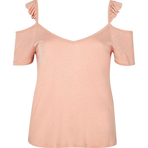 Pink cold shoulder frill cami top