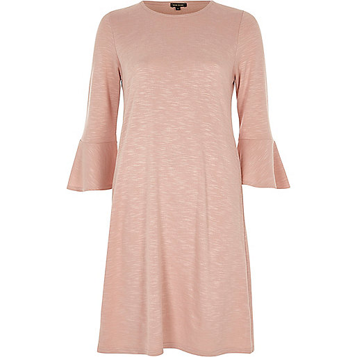 Blush pink bell sleeve casual dress