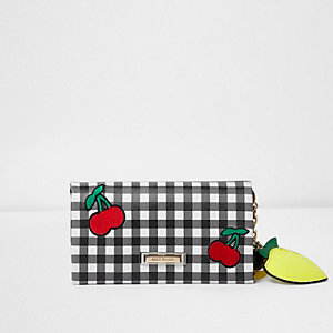Black gingham cherry appliqué foldover purse
