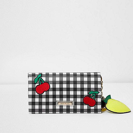 Black gingham cherry appliqué foldover purse