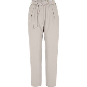 Light grey soft tie waist tapered trousers