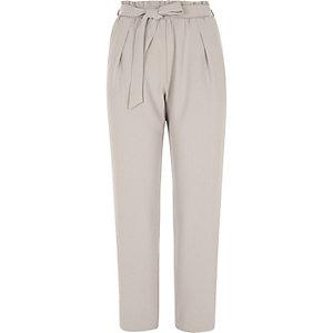 Light grey soft tie waist tapered pants