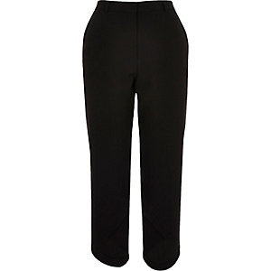 Black soft crop curve hem trousers