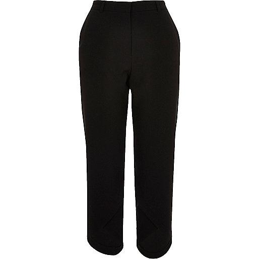 Black soft crop curve hem trousers