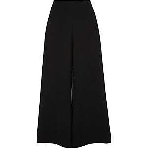 Black soft wide leg cropped culottes
