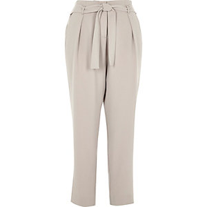 Grey soft tie waist tapered trousers