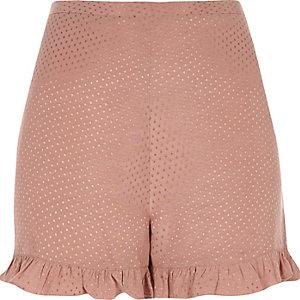 Pinke Jacquard-Shorts mit Rüschen