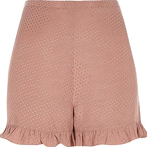 Pink soft frill jaquard shorts