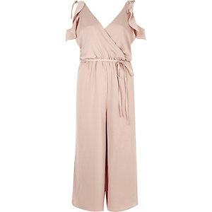 Blush pink frill trim culotte jumpsuit